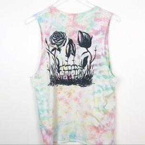 DROP OUT CLUB l Tie Dye Floral Skull Tank